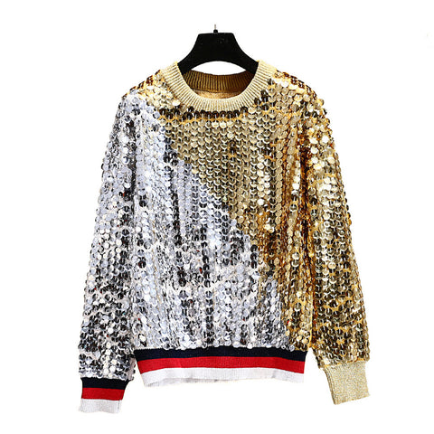 2018 new round neck sweater sweater female retro heavy work sequin sweater loose hooded lazy wind color trend sweater