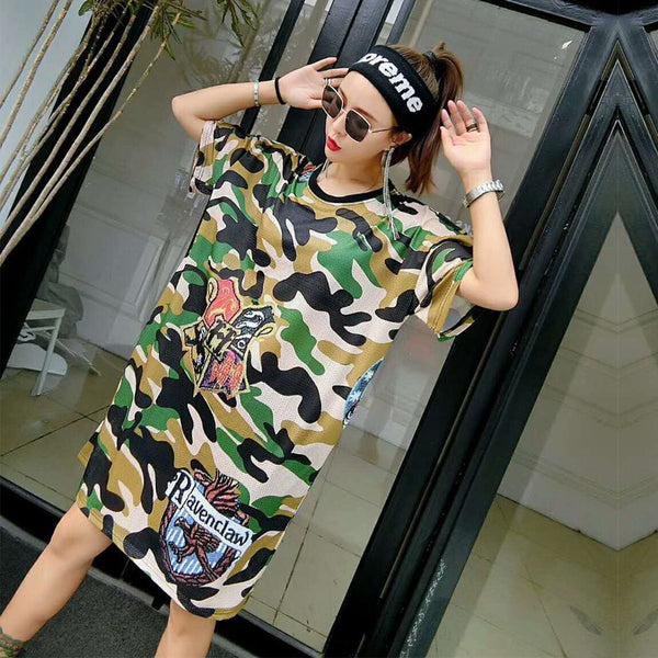 2018 summer new tide brand sports mesh printing T-shirt dress loose long section short-sleeved camouflage ladies dress