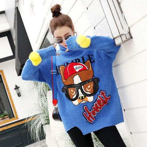 2018autumn and winter new Thai street fashion cartoon sequins ladies sweater high collar loose knit sweater women's jacket shirt