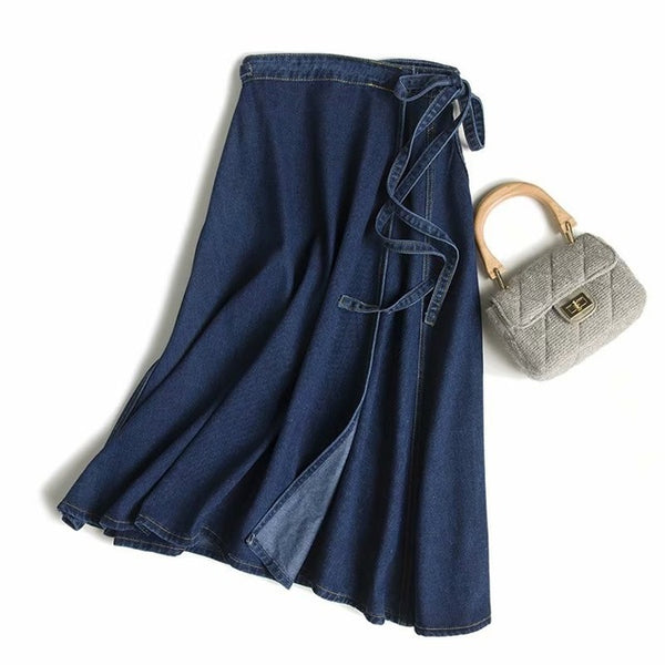2019 Autumn A Line Denim Skirts Lace Up High Waist Long Skirts Side Split Elegant Streetwear