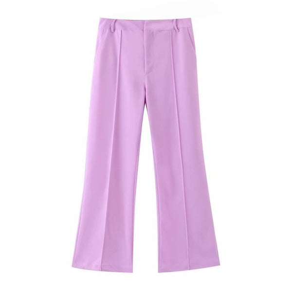 2019 Autumn Lady Office Formal Two Piece Set Women Suit Set Double Breated Purple Blazer High Waist Slim Flare Pants