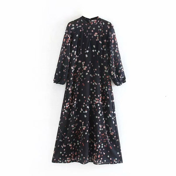 2019 Autumn Long Sleeve Shirt Dress Color Dot Printing Maxi Long Dress Lantern Sleeve Blouses