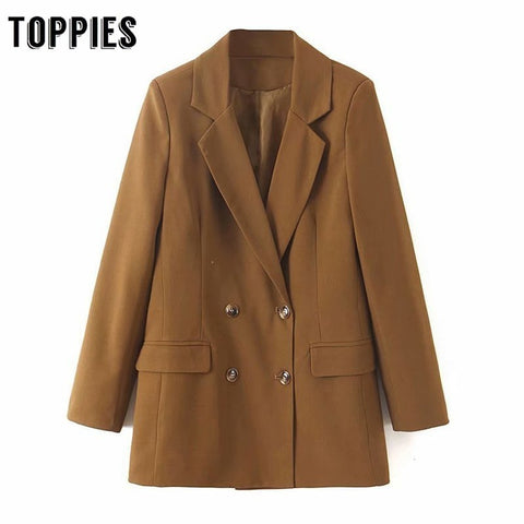 2019 Autumn Loose Brown Coat Office Lady Double Breated Small Suit Jacket Women Solid Color Blazer XL2195