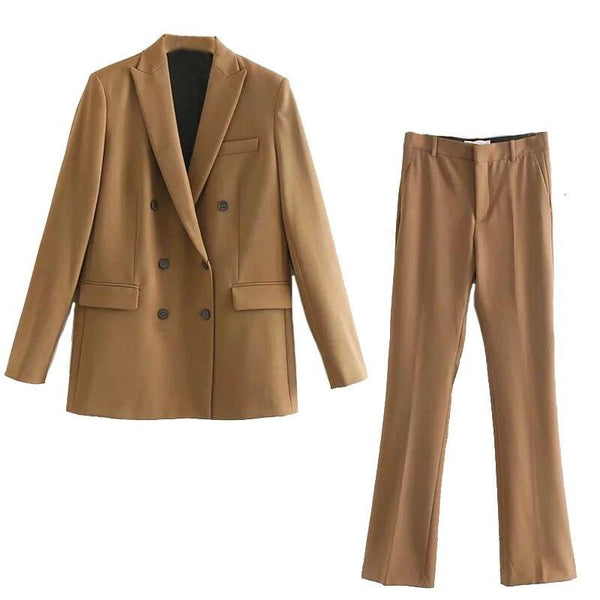 2019 Autumn Suits Ladies Office Two Piece Set Double Breasted Blazer Winter Jacket Women High Waist Pants Suit