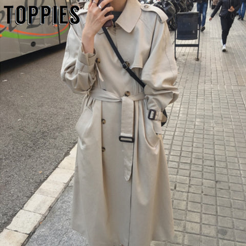 2019 Autumn Windbreaker Women Double Breasted Long Trench Coat Korean women clothes	Streetwear