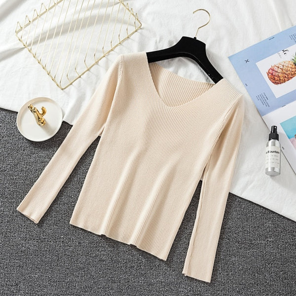 2019 Autumn Winter Basic Knitted Tops Women Sweater V Neck Long Sleeve Jumpers Korean Pink Sweater