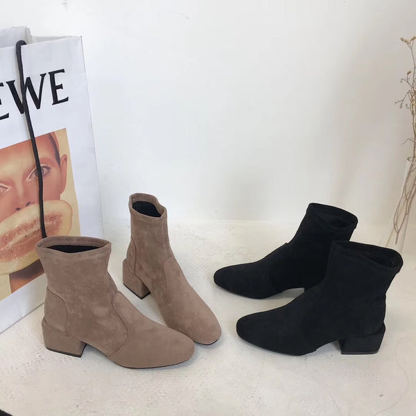 2019 Autumn Winter Faux Leather Boots Korean Style Elegant Suede Leather Boots Black Brown