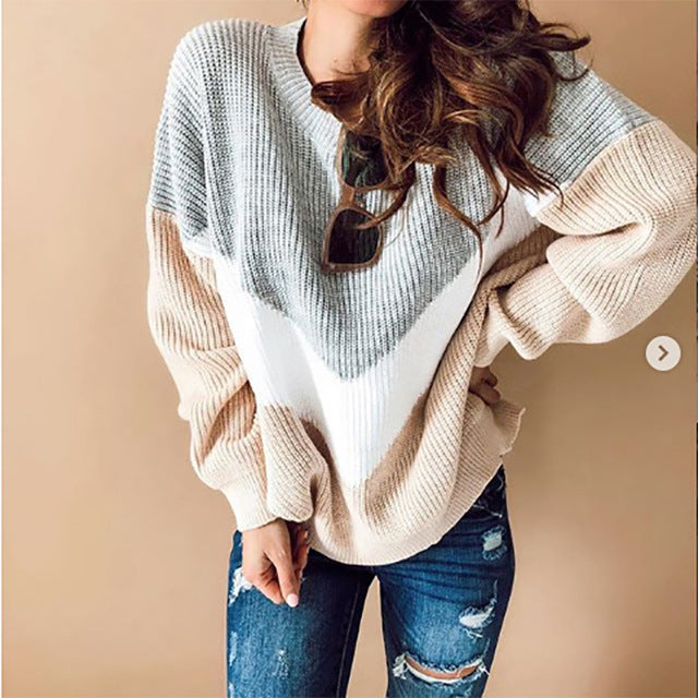 2019 Autumn Winter Knitted Oversized Sweater Women V Shape Colorblock Sweater Female Long Sleeve Jumpers Plus Size