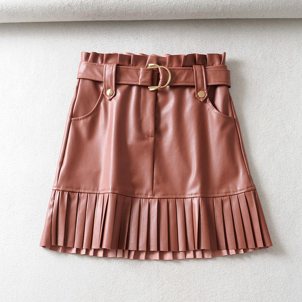 2019 Autumn Winter Pu Leather Skirts High Waist Pleated Hem Mini Skirts Belt Waist Ladies Faldas
