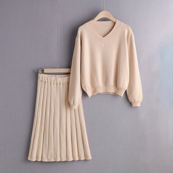 2019 Autumn Winter Two Piece Set Ladies Elegant Knitted Set Lantern Sleeve Sweater Elastic Waist Skirt Korean Clothes Women