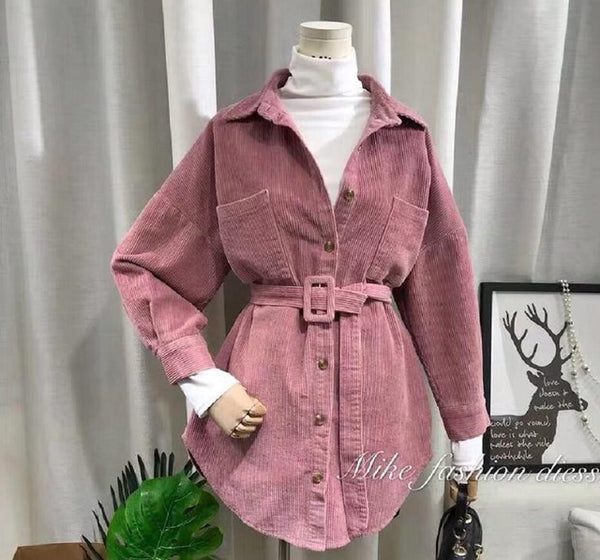 2019 Autumn Women Corduroy Jacket With Belt Oversize Blouse Design Coat Beige Blue Pink Jackets