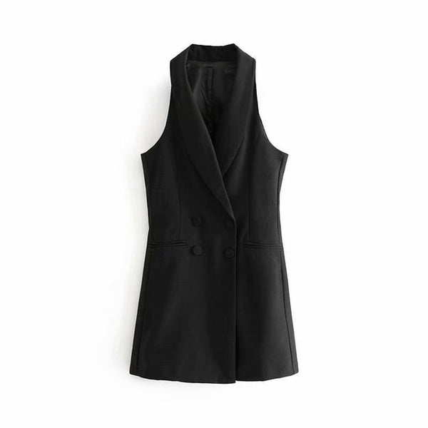 2019 Double Breasted Blazer Style Jumpsuits Office Lady Overalls Women Formal Playsuits Sleeveless Romper