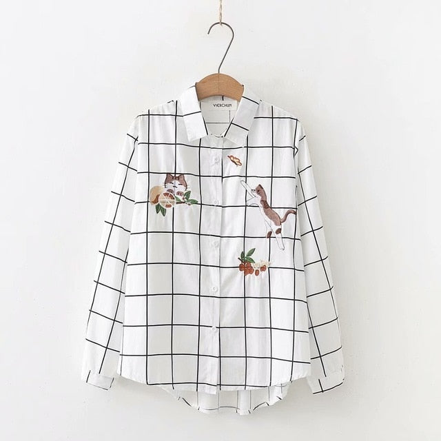 2019 Embroidered Butterfly Cat Shirt Korean Long Sleeve Polka Dot Blouses Tops Irregular Hem White Shirt