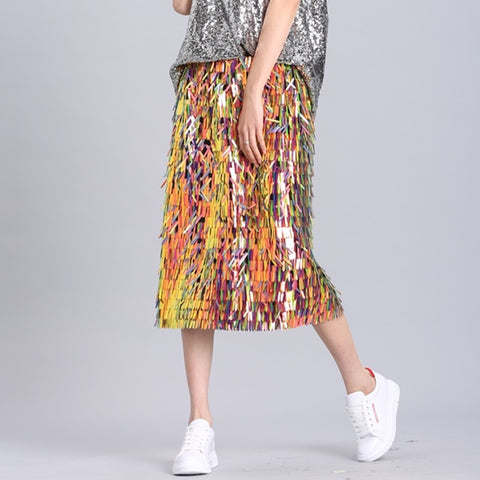 2019 Fashionable Women Skirts Summer Skirts Heavywork Sequins Naked Body Long Midnight Bags Hips Shiny Shine Half Skirt