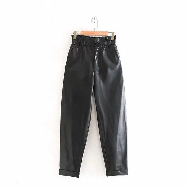 2019 Faux Leather Pants Women Harem Pants High Waist Loose Black Pu Trousers High Street pantalones mujer