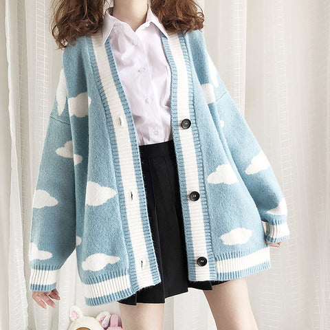 2019 Harajuku Lolita Cute Clouds Long Knitted Sweater College Japanese Mori Girl V-neck Loose Cardigan Sweater Coat Winter
