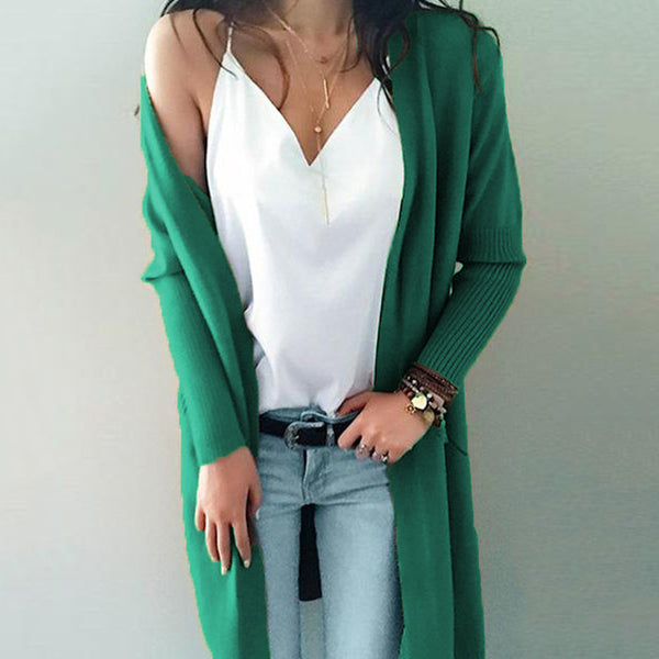 2019 Knitting Long Cardigan Woman Oversized Cardigan Autumn Winter Loose Coat Solid Color Sweater