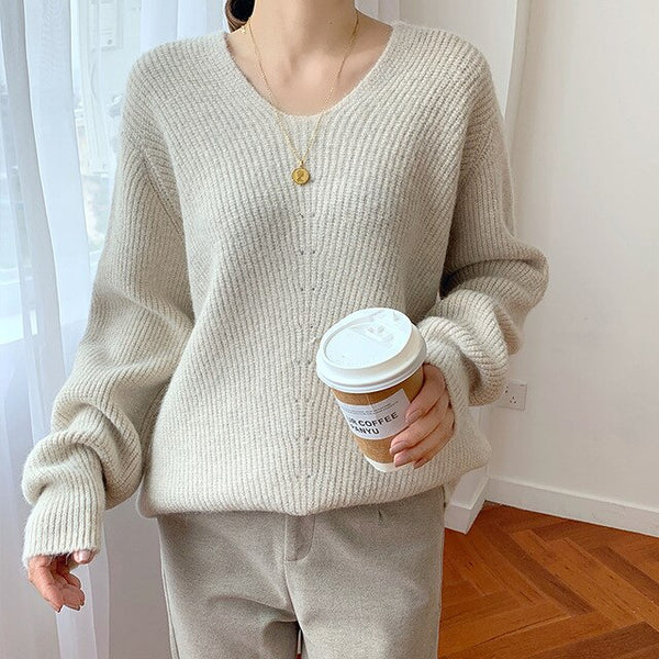 2019 Lazy Wind Knitting Sweater Women V-neck Pullover Winter Thicker Warm Pink Sweater School Student Jumpers pull femme
