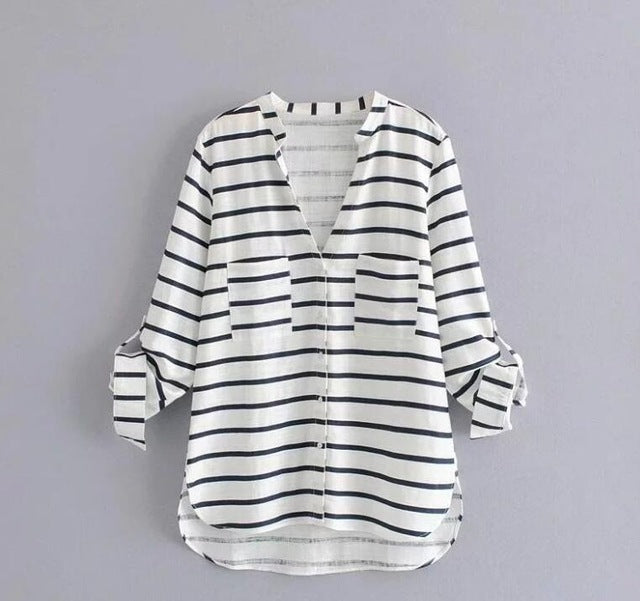 2019 Loose Striped Tops Summer Cotton and Linen T-Shirt Pleated Sleeve Leisure T-Shirts Women Casual Tops Plus Size