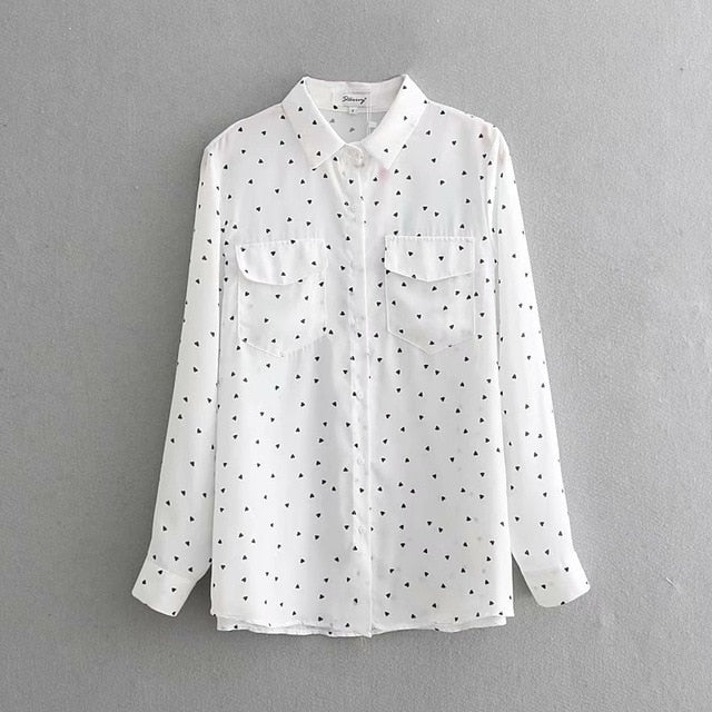 2019 Love Printing Cute Shirt Office Lady Long Sleeve White Shirt Spring Summer Women Loose Oversize Blouses Tops Korean