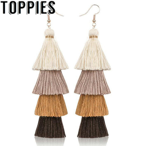 2019 New Women Bohemian Tassels Long earrings fashion jewelry pendientes mujer orecchini donna