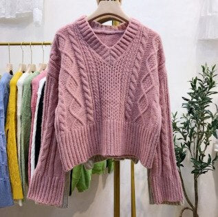 2019 Pink Knitting Crop Sweater Woman Long Sleeve Jumpers School Girl V Neck Pink Sweater Korean Women Clothes
