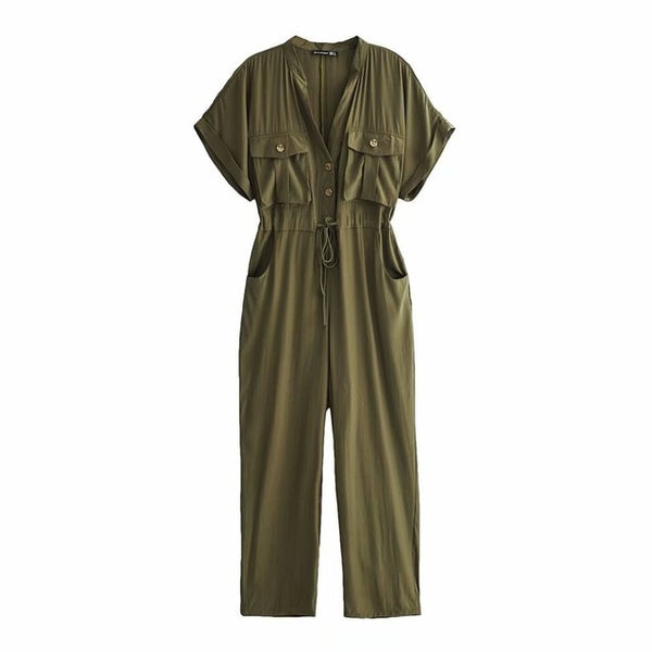 2019 Rompers Womens Jumpsuit Summer Short Sleeve Button Playsuits Safari Style Cargo Pants Army Green