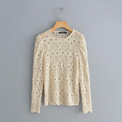 2019 Sexy Hollow Out Beige Blouses Tops Lady Summer Tops Elegant Long Sleeve Crochet Shirts chemisier femme