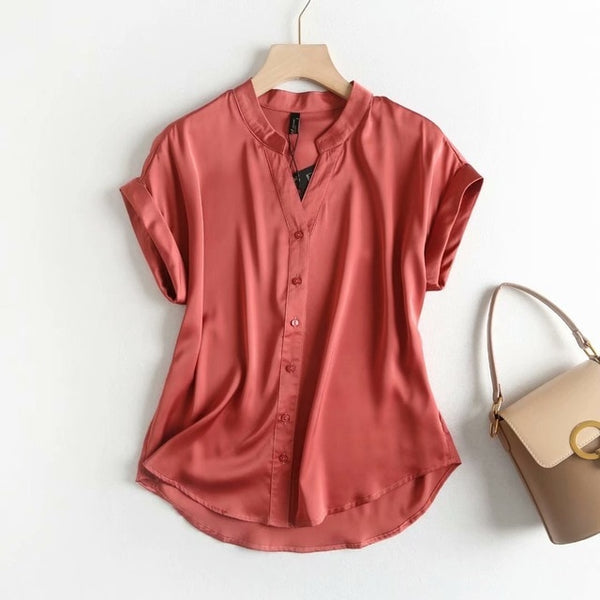 2019 Short Sleeve Satin Shirts Summer Lady Tops Army Green Khaki V Neck Shirts High Quality Women Tops Solid Color