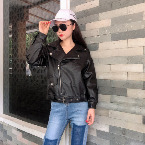 2019 Silver Black Pu Leater Jacket Moto Biker Zipper Jacket Belt Waist Women Short Windbreaker Autumn Winter Outwear