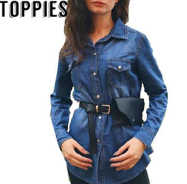 2019 Spring New Long Sleeves Women Denim Shirt Pearl Buttons Denim Blouse for Women Causal Shirts with Pockets