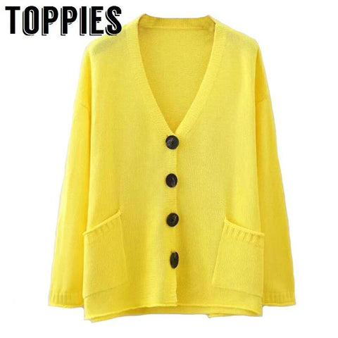 2019 Spring Thin Knitting Cardigan Sweaters Yellow Single Breasted Cardigans Summer Women Loose V Neck Tops