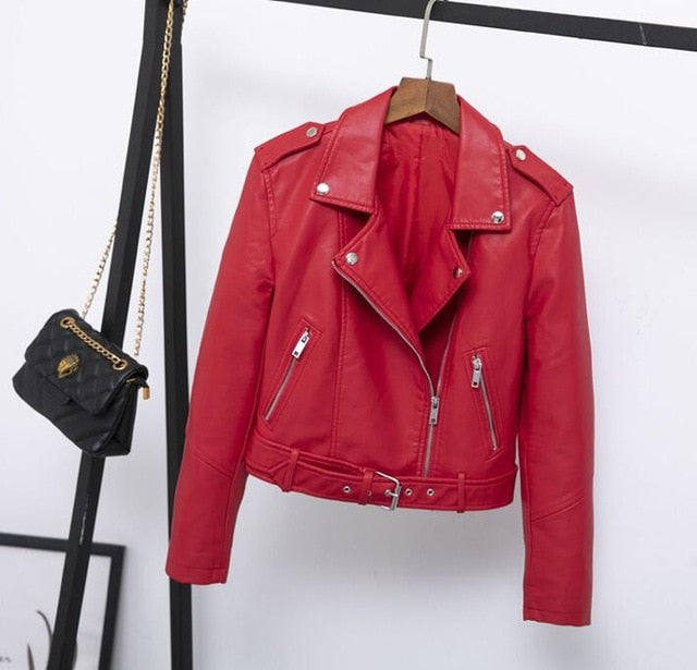 2019 Spring Women Fashion PU Leather Biker Jackets Red Leather Coat