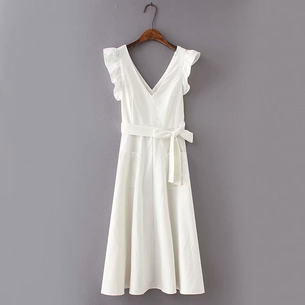 2019 Summer Cotton and Linen White Maxi Dress with Pockets Women Back Hollow Out Belt Ruffles Tank Dress Sexy V-Neck Vestidos