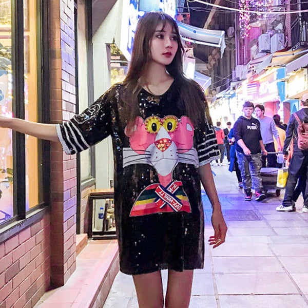 2019 Summer New Tide brand Heavy Industry Beads Pink Leopard Patch Sequins Long Loose Turtleneck Short Sleeve T-Shirt