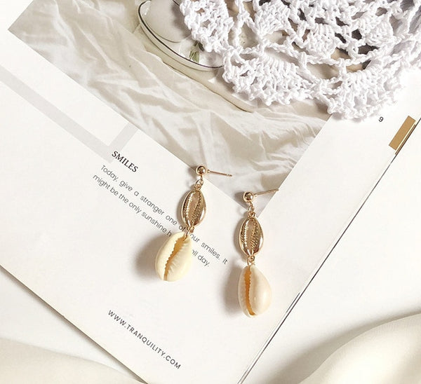 2019 Summer Women Bohemian Shell Earrings Sea Shell Pendant Earrings Gold Statement Earrings