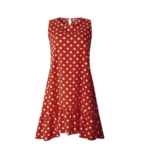 2019 Summer Women Polka Dots Causal Dress Kawaii Ruffles Dots Shift Dress O-neck Sleeveless Vintage Loose Shirt Dresses