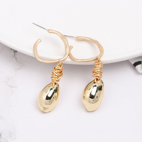 2019 Summer Women Sea Shell Earrings Bohemian Beach Style Drop Earring Geometric Statement Women Jewelry