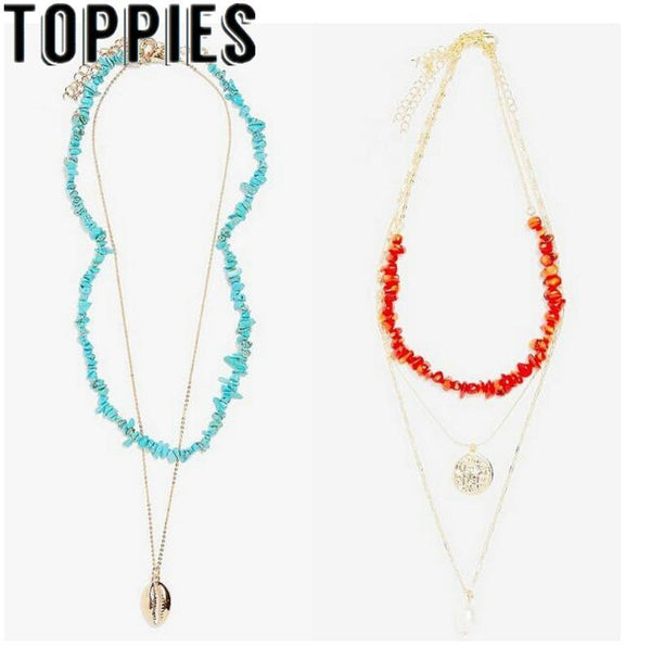 2019 Summer Women Trendy Necklace Tortoise Coral Bohemian Holiday Necklace Women Beach Style Pearl Shell Jewelryies