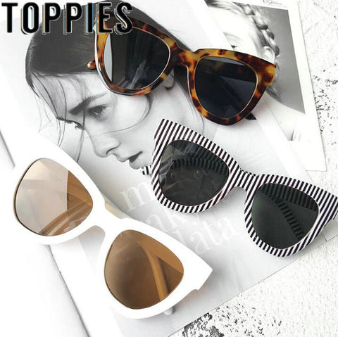 2019 Summer Women White Sunglasses European Fashion Vintage Black Sunglasses
