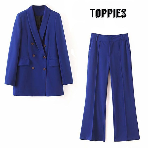 2019 Two Piece Set Women Blue Suit Set Lady Double Breasted Long Blazer Jacket High Waist Flare Pants High Quality XL2192