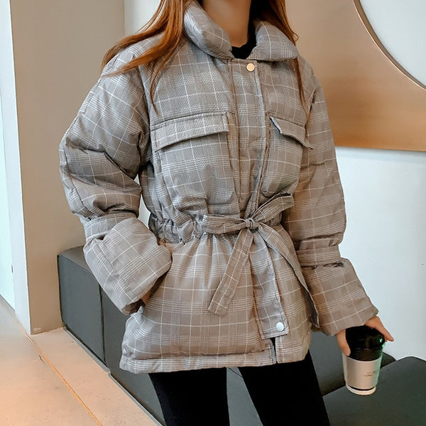 2019 Vintage Lattice Puffer Jacket Down Drawstring Waist Coat Big Pockets 2019 Autumn Winter Woman Coat