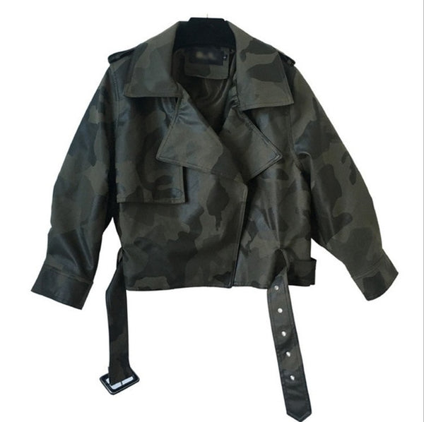 2019 Winter Black Pu Leather Jacket Women Short Bomber Jacket Camouflage Batwing Sleeve Coat European and American Streetwear