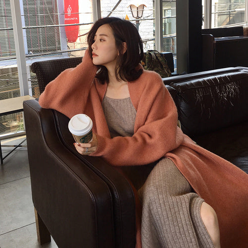 2019 Winter Cardigan Coat Women Oversize Long Carigan Solid Color Korean Open Stitch Sweater Coat