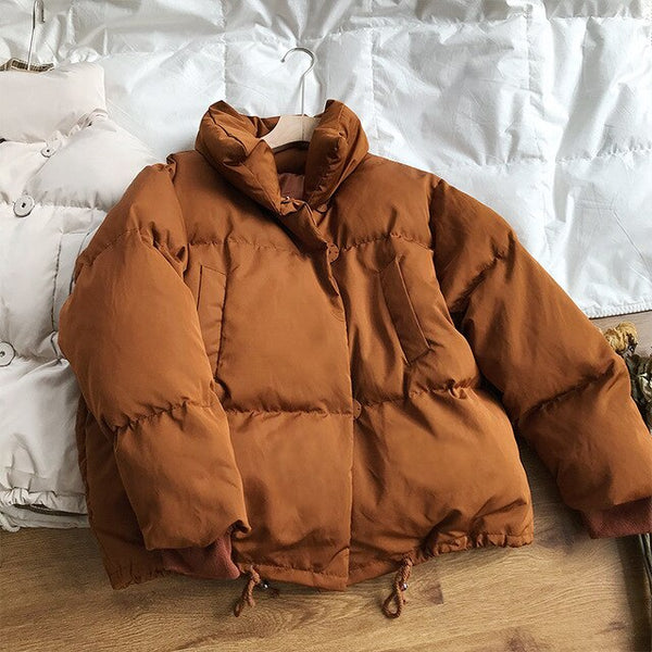 2019 Winter Coat Women Short Puffer Jacket Female Cotton-padded Clothes Stand Collar Loose Coat Korean Clothes