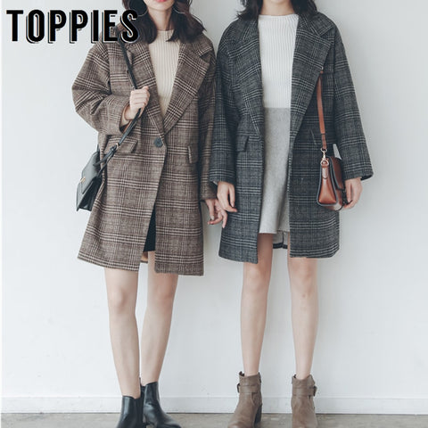 2019 Winter Coat Women Vintage Lattice Woolen Coat Korean Single Button Long Jacket abrigos mujer invierno