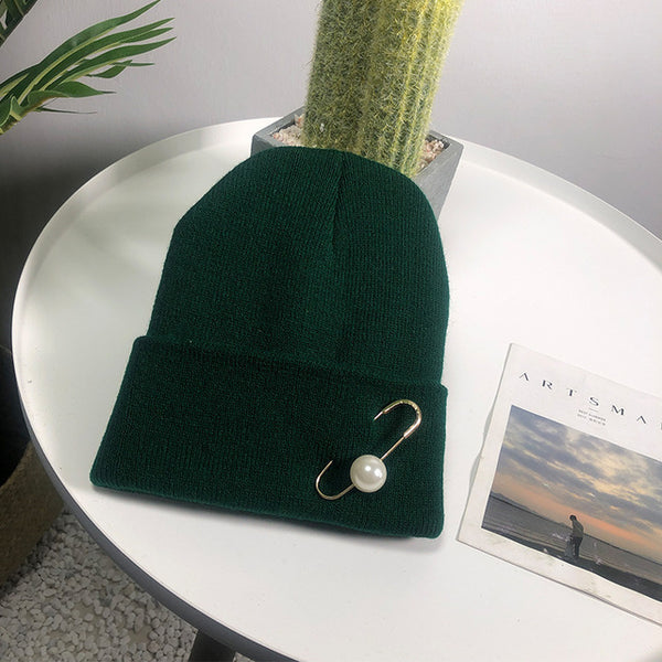 2019 Winter Hats For Woman New Beanies  Pearl Earring Knitted Hats With Pearls  Decoration Warm Thick Caps Gorros