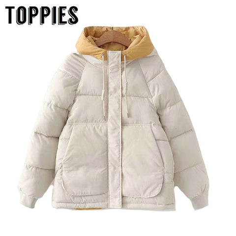 2019 Winter Hooded Parkas Thicker Warm Coat Women Outwear Cotton-padded clothes patchwork Jacket