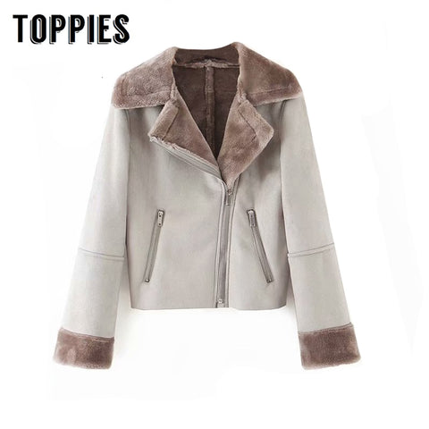2019 Winter Jacket Women Faux Suede Jacket Lapel Fur Coat Women's Leather Coat American And European Clothes