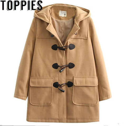 2019 Winter Japan Style Sweet Mori Girls Hooded Woolen Coat With Horn Buttons Vintage Winter Jackets Jacke Manteau Femme Hiver